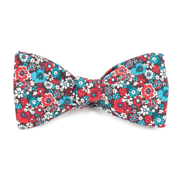 Red Floral Level Bow Tie
