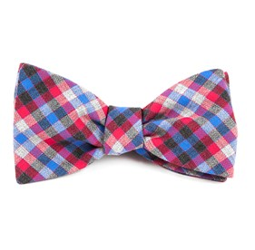 Steel Checks Apple Red Bow Ties