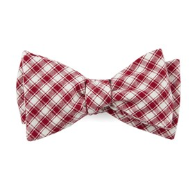 Red Mesh Plaid bow ties