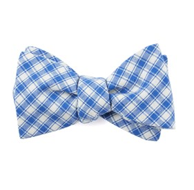Royal Blue Mesh Plaid bow ties