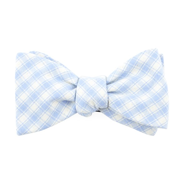 Light Blue Mesh Plaid Bow Tie
