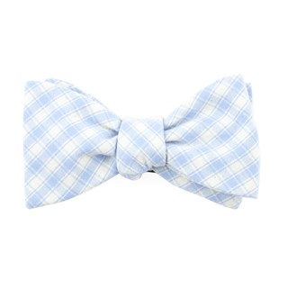 mesh plaid light blue bow ties