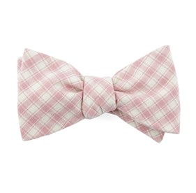 Baby Pink Mesh Plaid bow ties