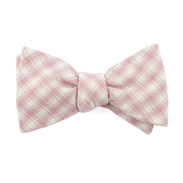 Baby Pink Mesh Plaid Bow Tie