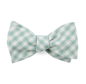 Mesh Plaid Mint Bow Ties