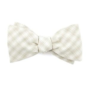 mesh plaid light champagne bow ties