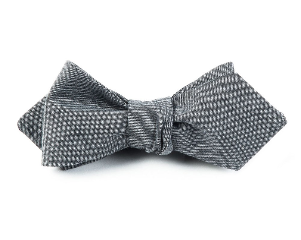 1920s Bow Ties | Gatsby Tie,  Art Deco Tie Grey Diamond Tipped Bow Tie $19.00 AT vintagedancer.com