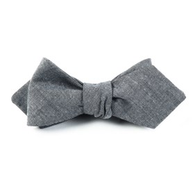 Soft Grey Classic Chambray bow ties