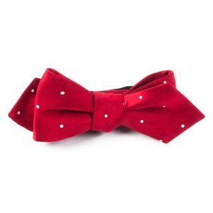 satin dot red bow ties