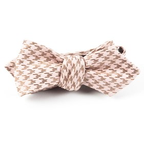 Soft Pink White Wash Houndstooth bow ties