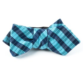 Turquoise Profile Plaid bow ties