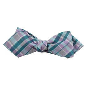 Ultraviolet Plaid Pool Blue Bow Ties