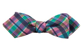 Bow Ties - Ultraviolet Plaid - Hot Pink