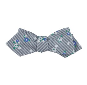 Begonia Stripes Grey Bow Ties