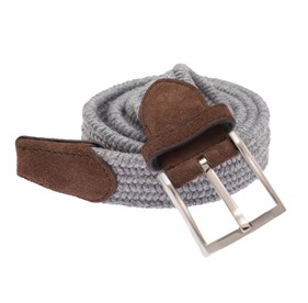 Grey Textured Braided belt