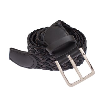 leather braided black belt