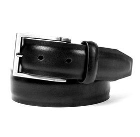 Black Solid Leather belt