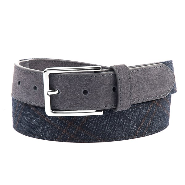 Navy Stevenson Plaid Belt