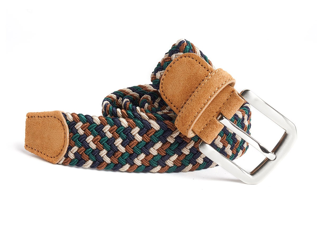 Brown Interwoven Belt With Leather Trim