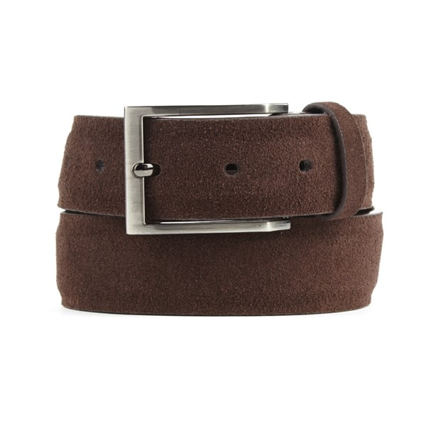 Brown Solid Suede Belt