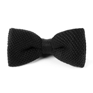knitted black bow ties