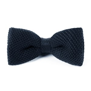 knitted midnight navy bow ties