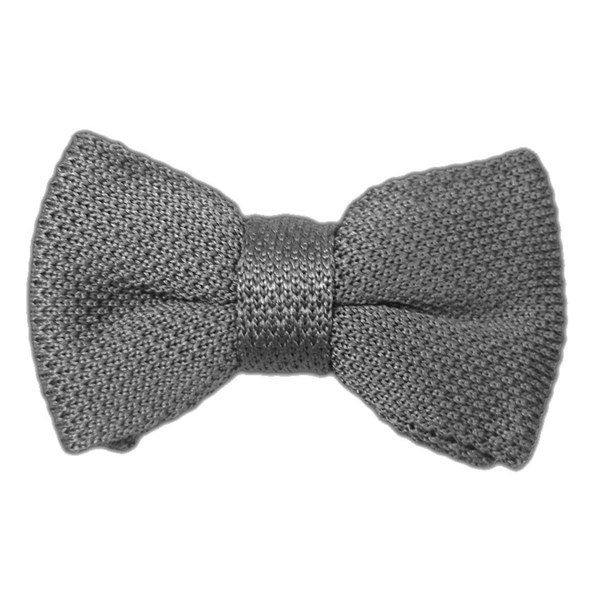 Grey Knitted Bow Tie
