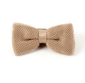Knitted Light Champagne Bow Ties