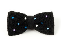 Bow Ties - COLORFUL KNIT POLKAS - BLACK