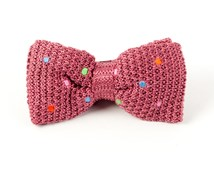 Bow Ties - COLORFUL KNIT POLKAS - DUSTY ROSE