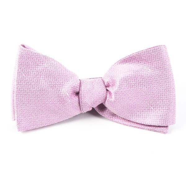 Baby Pink Solid Linen Bow Tie