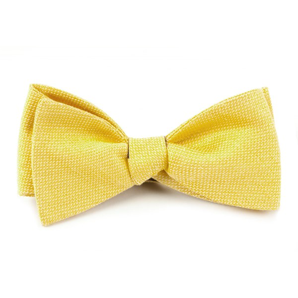 Butter Gold Solid Linen Bow Tie