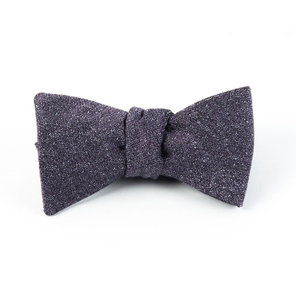 Purple Linen Stitched Bow Tie