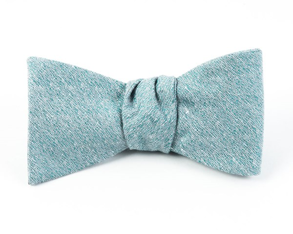 Linen Stitched Robins Egg Bow Tie