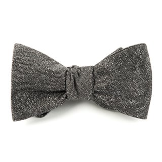 Linen Stitched Grey Bow Tie