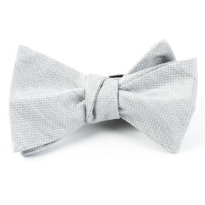 solid linen silver bow ties