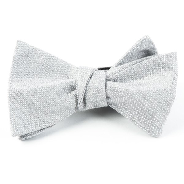 Silver Solid Linen Bow Tie
