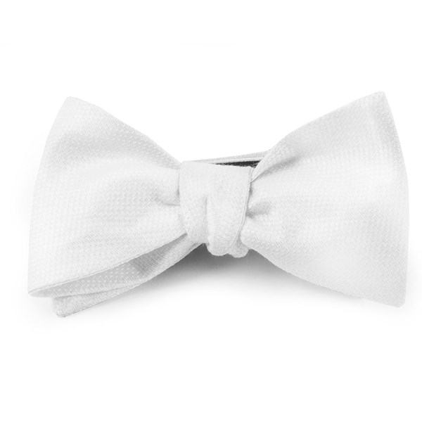 White Solid Linen Bow Tie