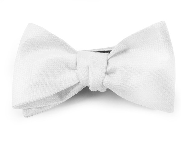 Solid Linen White Bow Tie