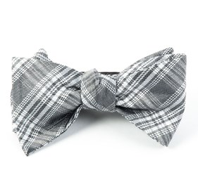 Reflection Plaid Silver Bow Ties