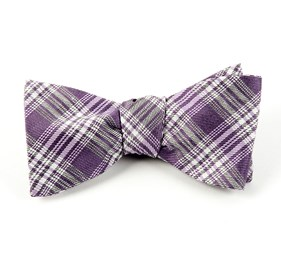 Mauve Reflection Plaid bow ties
