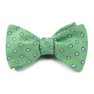 Half Moon Floral Apple Green Bow Tie