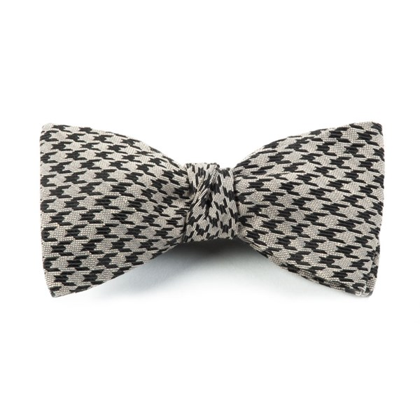 Light Grey White Wash Houndstooth Bow Tie