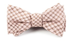 Bow Ties - White Wash Houndstooth - Soft Pink