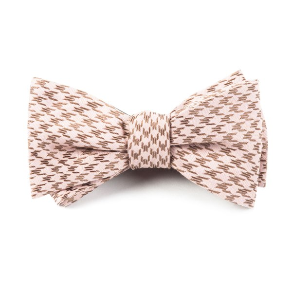 Soft Pink White Wash Houndstooth Bow Tie