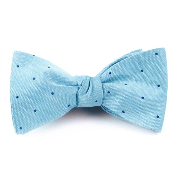 Washed Pool Blue Bulletin Dot Bow Tie