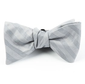 Silver Invisible Stripe bow ties
