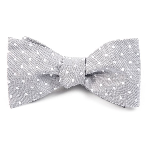 Silver Dotted Dots Bow Tie