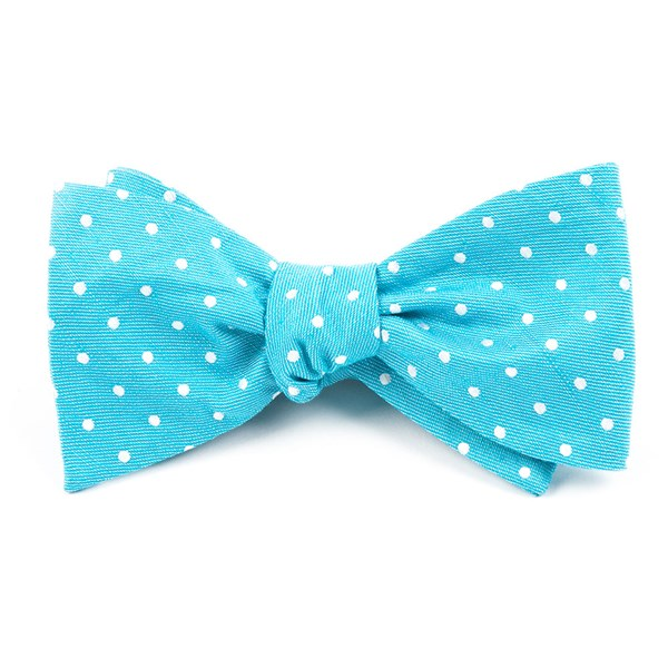 Turquoise Dotted Dots Bow Tie