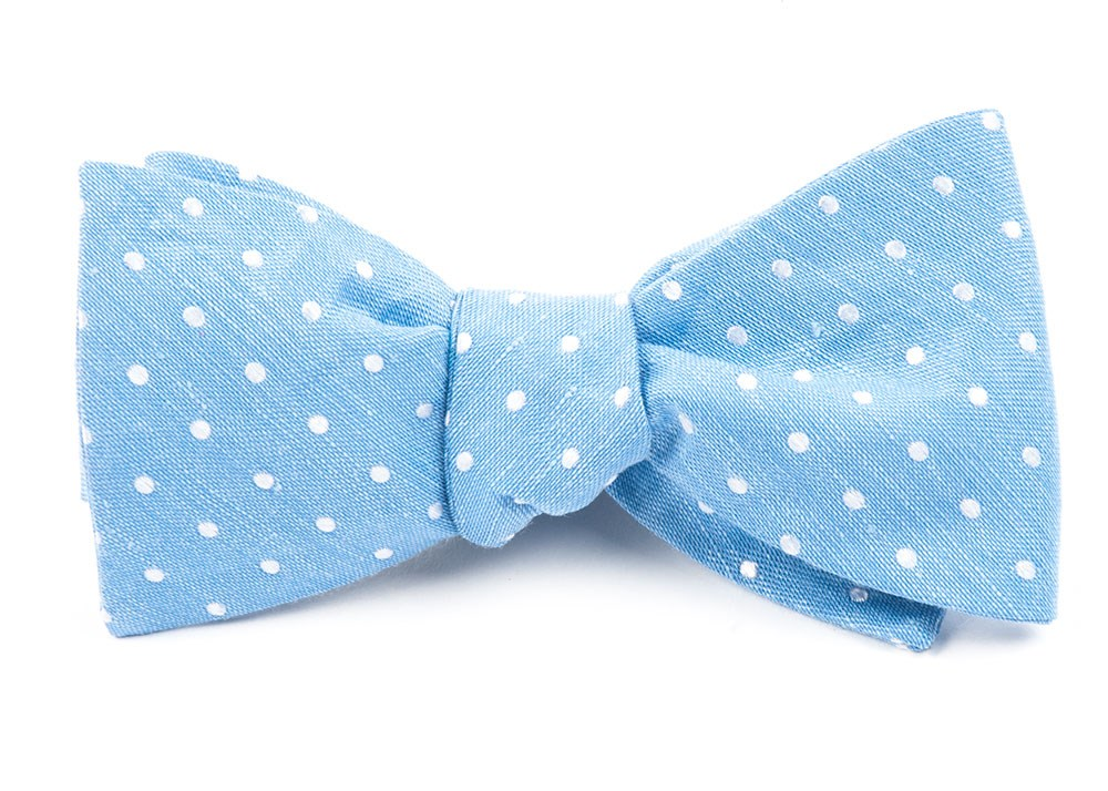 Light Blue Dotted Dots Bow Tie Ties Bow Ties And